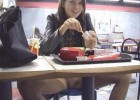 Not so shy teen no panties upskirt in fast food