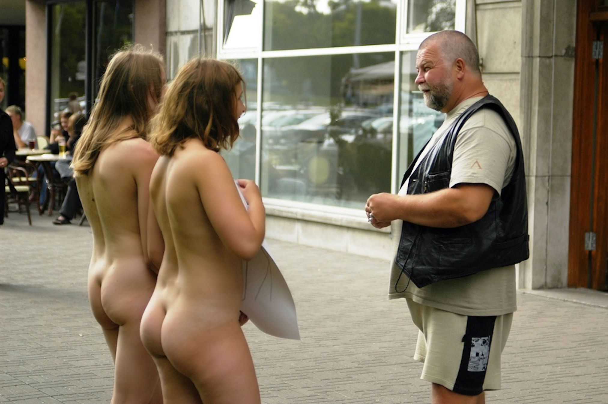 Nudist wild girls lure an older guy